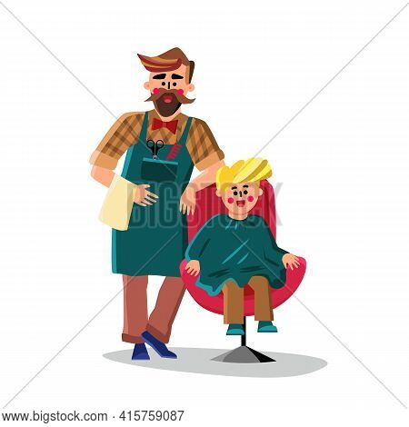 Barber Cutting With Scissors Small Boy Hair Vector. Barber Shop Worker Man Holding Napkin In Hand An