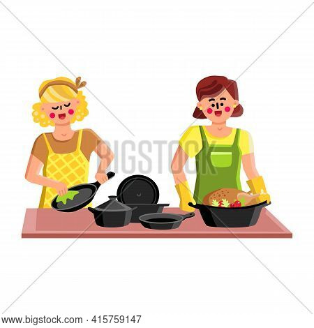 Cast Iron Cookware For Cooking Tasty Food Vector. Young Woman Washing Cast Iron Cook Ware And Girl C