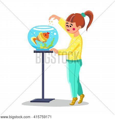 Little Girl Feed Fish In Fishbowl Aquarium Vector. Happy Small Child Feeding Cute Fish. Smiling Char