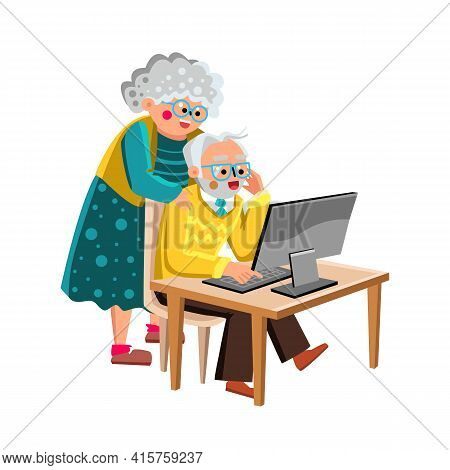 Grandma And Grandpa Working On Computer Vector. Grandma And Grandpa Senior Couple Watching On Screen