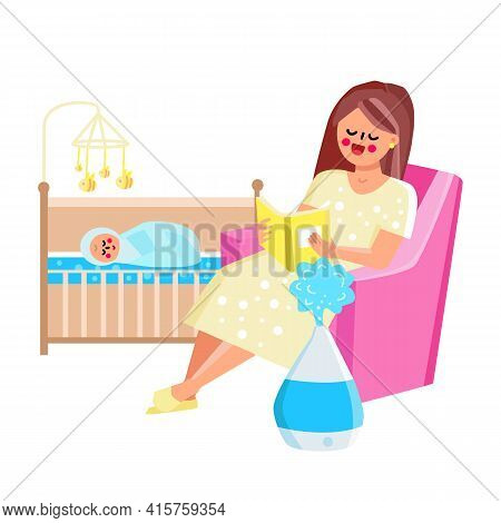 Air Humidifier Device Working In Child Room Vector. Woman Mother Sitting In Armchair And Reading Boo