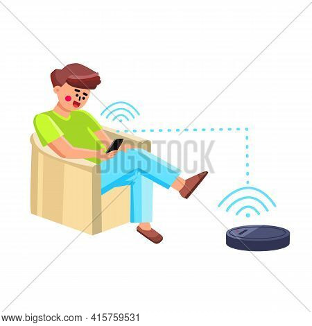 Vacuum Robot Man Controlling With Phone App Vector. Young Boy Sitting On Armchair And Control Vacuum