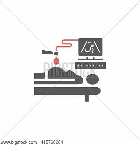 Ultrasound During Pregnancy. Doctor Doing Sonography To A Pregnant Woman. Vector Illustration For We