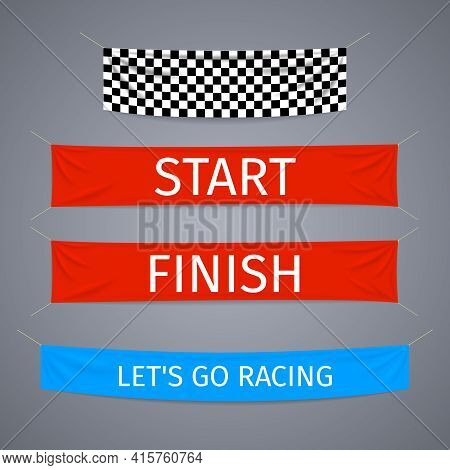 Start And Finish Textile Banners Vector Set. Flag Sport Race, Competition Finishing, Winner Success