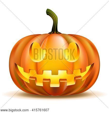 Halloween Pumpkin Isolated On White. Scary Jack. Vector Illustration. Eps10 Opacity