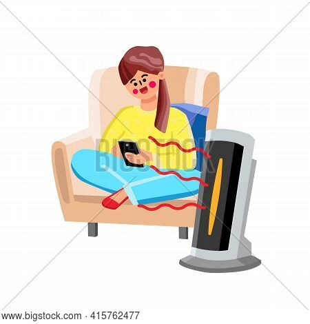 Space Heater Device For Air Warming Home Vector. Young Woman Sitting In Armchair And Use Smartphone,
