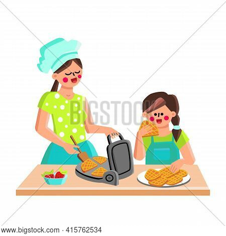 Waffle Maker Device For Cooking Cookies Vector. Mother And Daughter Baking Waffle Food With Strawber