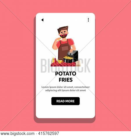 Potato Fries Cooking Chef In Air Fryer Vector. Young Man Eating Cooked Potato Fries With Ketchup, Mu