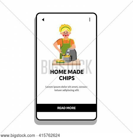 Home Made Chips Cooking Girl In Frying Tool Vector. Young Woman Frying Home Made Chips, Snack Cooked