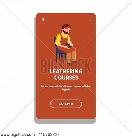 Leathering Courses Lesson Visit Young Man Vector. Shoemake Leathering Courses Seminar Visiting Boy A