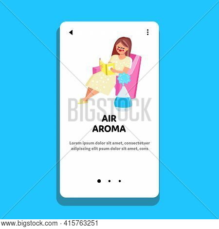 Air Aroma Home Purifier Appliance In Room Vector. Woman Sitting In Armchair And Reading Book, Near W