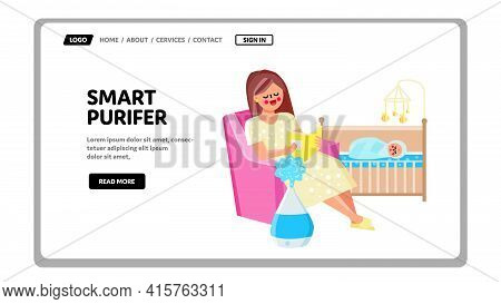 Smart Purifier For Cleaning And Wetting Air Vector. Mother Sitting In Armchair And Reading Book For