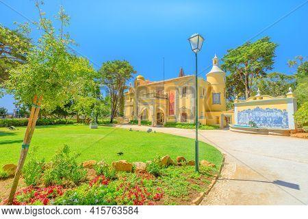 Cascais, Portugal - August 6, 2017: Architecture Of Castro Guimaraes Museum In Gothic, Portuguese An