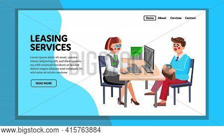 Leasing Services Consultant Advising Client Vector. Leasing Services Company Worker Adviser Answerin