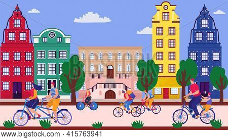 Bicycle Parade On Street, Vector Illustration. Sporting Event On Road, Fun City Holiday. Group Young
