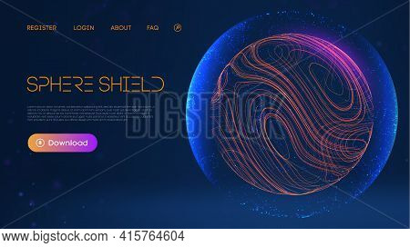 Sphere Shield Protect In Abstract Style. Virus Protection Bubble. Blue Abstract Antiviral Futuristic