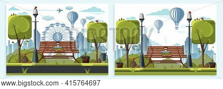 Cards Set Depicting City Park. Urban Landscape Design Template Collection. Cup Of Coffee On A Bench