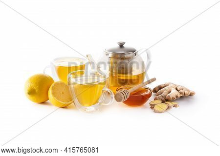Ginger Tea With Lemon And Honey In Crystal Glass Isolated On White Background