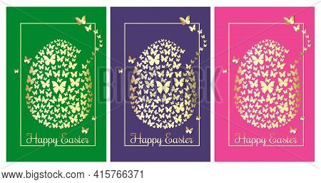 Happy Easter. Greeting Cards Set With Easter Egg Consisting Of Golden Butterflies. Collection Of Col