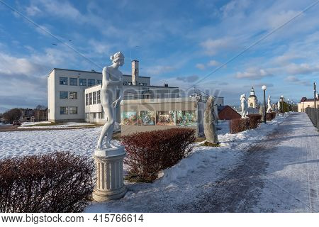 Vyborg, Leningrad Region, Russia - March 4, 2021: View Of The Alley With Copies Of Antique Sculpture