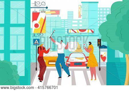 Digital Addiction, Man Woman Person Character Hold Phone At City Road, Vector Illustration. Flat Str