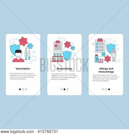 Vaccination, Immunology, Allergy And Immunology. Vector Template For Website, Mobile Website, Landin