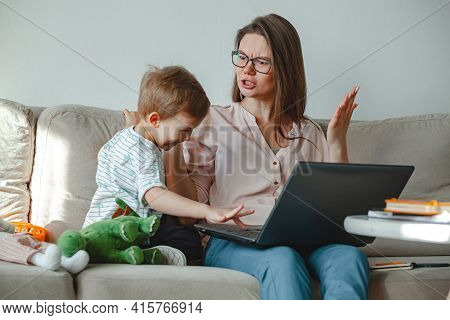 Concept Work At Home And Home Family Education, Mother Swears An