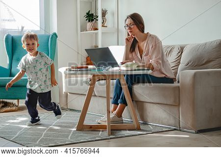 Concept Work At Home And Home Family Education, Mother Working W