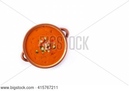 Gazpacho Soup In Crock Pot Isolated On White Background. Typical Spanish Food