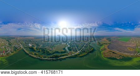 360 Degree Pano Of Beautiful River In The Town. Blue Sky. Beautiful Bright Landscape Photography Wit