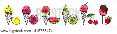 Set Of Ice Cream. Different Ice Screm Types. Hand Drawn Sketch With Fruits And Berries. Delicious Fr