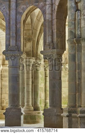 Romanesque Style Columns In Carboeiro Monastery In Galicia, Spain