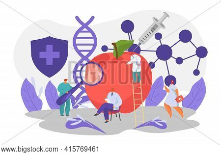 Gmo Experiment, Scientist Test Product With Genetic Modification, Vector Illustration. Science Work
