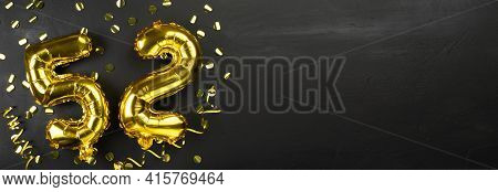 Gold Foil Balloon Number Fifty Two. Birthday Or Anniversary Card With The Inscription 52. Black Conc