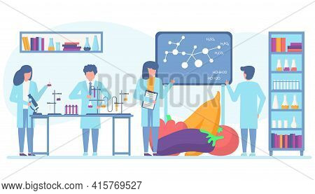 Food Vegetable Research, Gmo Experiment In Laboratory, Vector Illustration. Biotechnology In Lab, Ge
