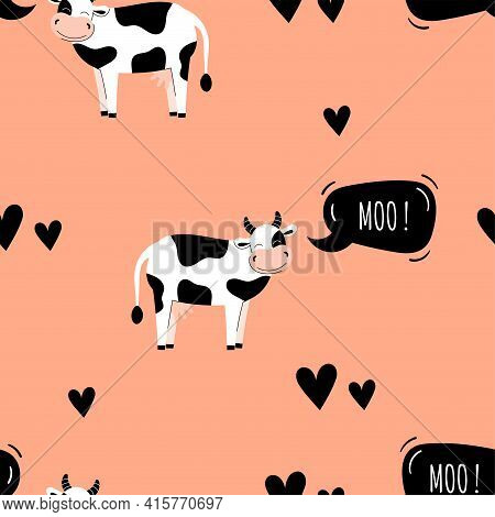 Seamless Pattern With Cute Cows. Background With Farm Animals. Wallpaper, Packaging. Flat Vector Ill