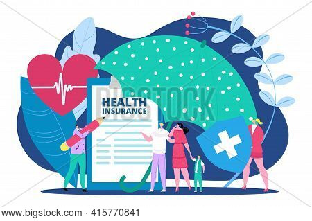 Health Insurance Document For Family, Vector Illustration. Flat Service For Life Protection, Man Wom