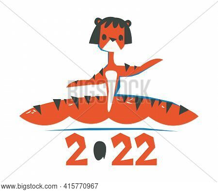 A Woman In A Tiger Costume Sits On A Twine Vector. The Inscription 2022 Is Brindle. Chinese Happy Ne