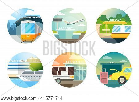 Transport Stations Flat Icons Set. Transportation And Railway, Airport And Subway, Metro And Taxi, V