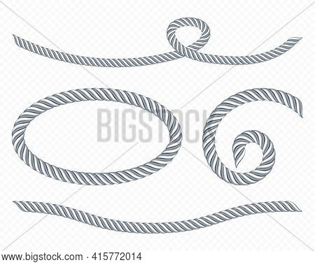 Silver Ropes, Frame Of Twisted Twines Isolated On White Background. Vector Realistic Set Of 3d Metal