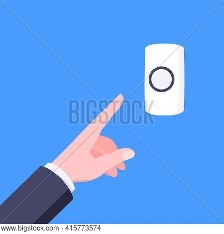 Male Hand Pushes Doorbell Button Flat Style Design Vector Illustration Isolated On Blue Background.