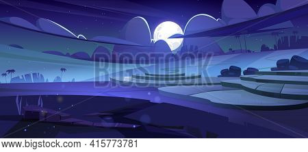 Rice Field Terraces, Green Paddy At Night. Vector Cartoon Illustration Of Summer Landscape With Crop