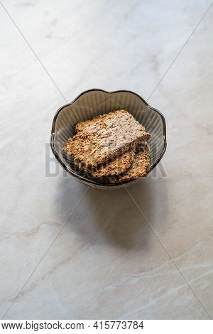 Freshly Baked Organic Homemade Almond Pulp Crackers From Almond Milk.