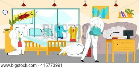 Pest Control At Home, Chemical Protection Service, Vector Illustration. Man Character In Mask Spray