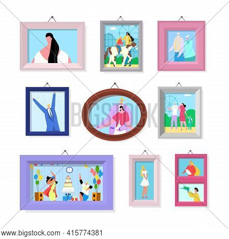Photo Picture In Frame Set, Vector Illustration. Family People Character Portrait At Wall, Happy Man
