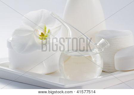 Pure cosmetics, skincare, skin allergy - organic, anti allergic cosmetics concept