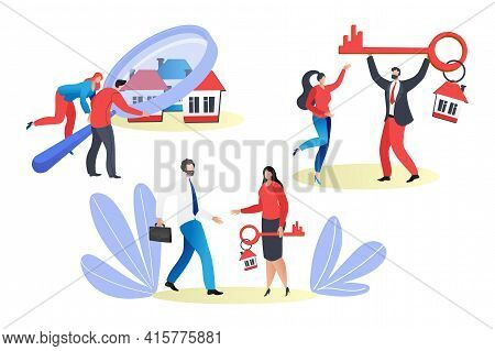 House Property Searching, Buy Real Estate Concept, Vector Illustration. Man Woman Couple Character S