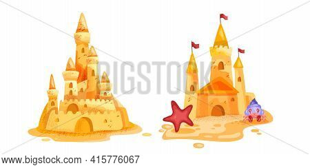 Sand Castle Vector Illustration, Summer Beach Game Isolated Cartoon Concept, Tower, Crab, Starfish.