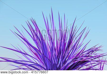 Neon Pastel Plant Leaves. Disco Tropical Background. Concept Art.
