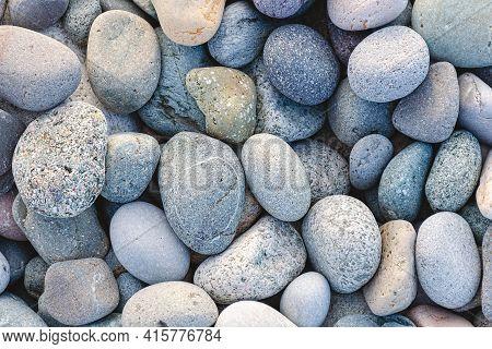 Pebble At The Sea Beach Texture. Gray Stone Background. Batumi, Georgia